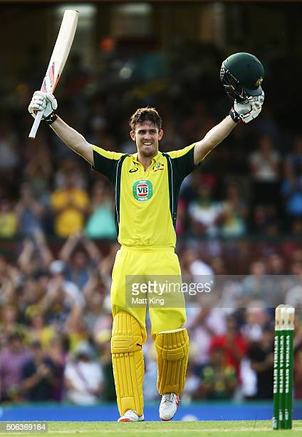 Mitchell Marsh of Australia celebrates and acknowledges the crowd after scoring a century during game five of the Commonwealth Bank One Day Series...