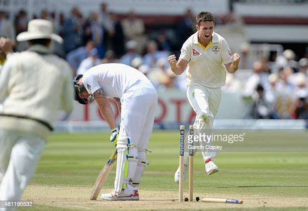 Mitchell Marsh of Australia celebrates dismissing Ben Stokes of England during day three of the 2nd Investec Ashes Test match between England and...