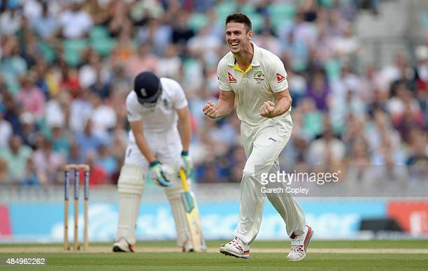 Mitchell Marsh of Australia celebrates dismissing Jos Buttler of England during day four of the 5th Investec Ashes Test match between England and...