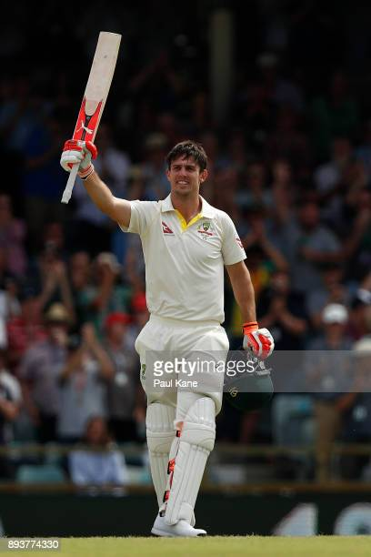 Mitchell Marsh of Australia celebrates his century during day three of the Third Test match during the 2017/18 Ashes Series between Australia and...