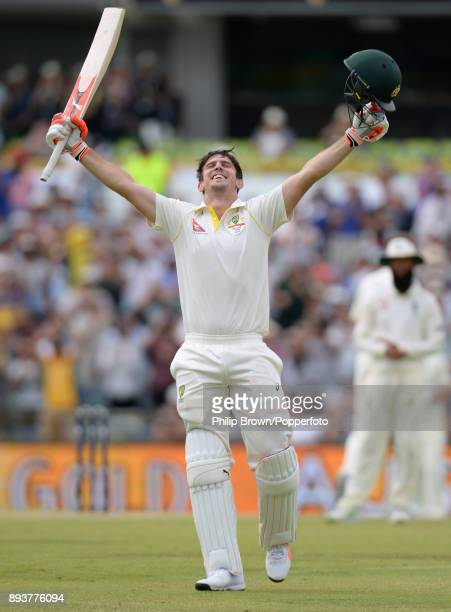 Mitchell Marsh of Australia celebrates reaching his century on the third day of the third Ashes cricket test match between Australia and England at...