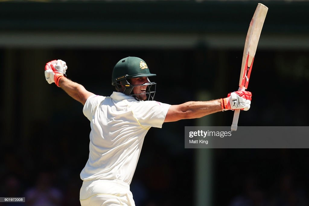Mitchell Marsh of Australia celebrates scoring a century during day four of the Fifth Test match in the 2017/18 Ashes Series between Australia and England at Sydney Cricket Ground on January 7, 2018 in Sydney, Australia.