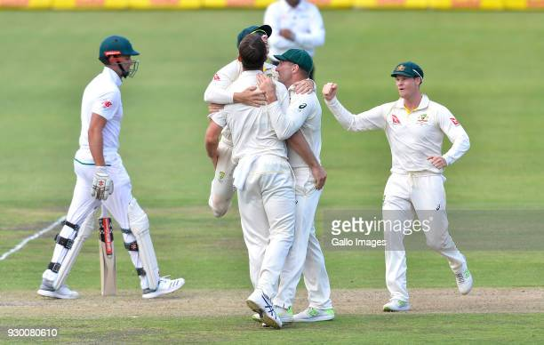 Mitchell Marsh of Australia celebrates the wicket of Theunis de Bruyn of South Africa during day 2 of the 2nd Sunfoil Test match between South Africa...
