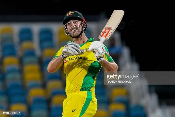 Mitchell Marsh of Australia hits 6 during the 3rd and final ODI between West Indies and Australia at Kensington Oval, Bridgetown, Barbados, on July...