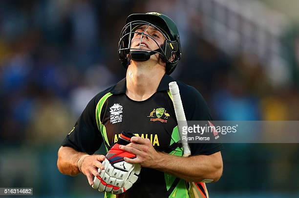 Mitchell Marsh of Australia looks dejected after being dismissed by Mitchell McClenaghan of New Zealand during the ICC World Twenty20 India 2016...
