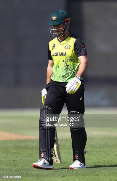 Mitchell Marsh of Australia makes their way off after being dismissed during the India and Australia warm Up Match prior to the ICC Men's T20 World...
