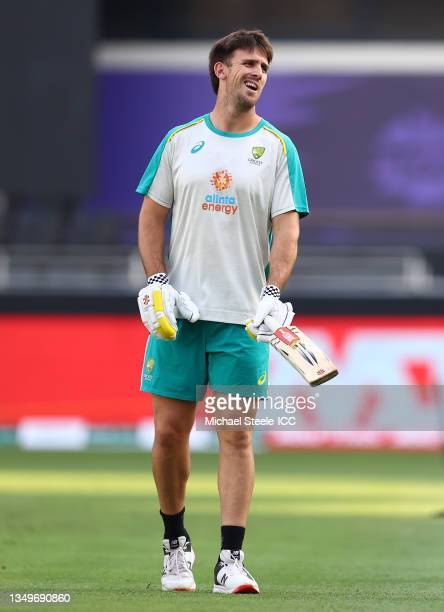 Mitchell Marsh of Australia performs a fitness test ahead of the ICC Men's T20 World Cup match between Australia and Sri Lanka at Dubai International...