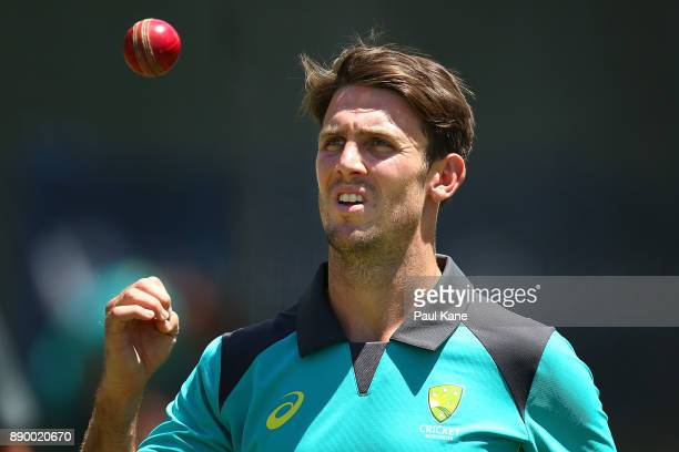 Mitchell Marsh of Australia prepares to bowl during an Australian nets session at WACA on December 11 2017 in Perth Australia