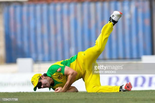 Mitchell Marsh of Australia takes the catch to dismiss Shai Hope of West Indies during the 3rd and final ODI between West Indies and Australia at...