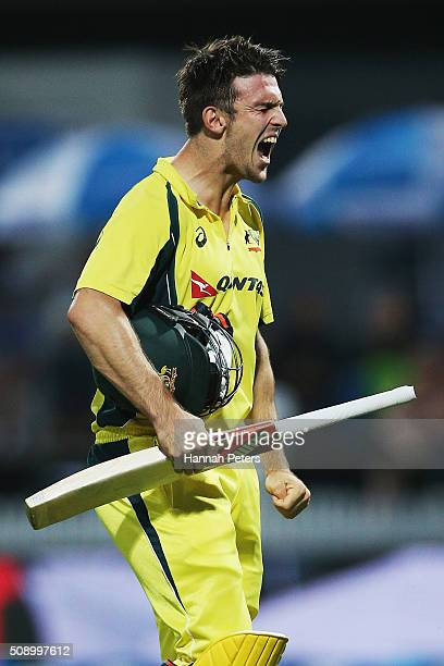 Mitchell Marsh of Australia walks off after being dismissed by Matt Henry of the Black Caps during the 3rd One Day International cricket match...