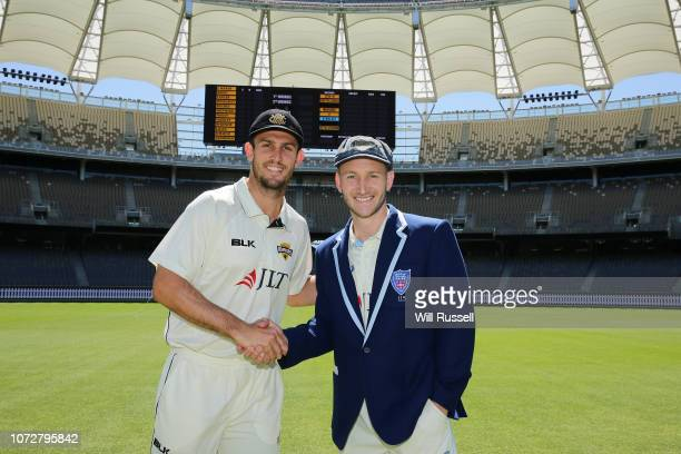 Mitchell Marsh of the Warriors and Peter Nevill of the Blues posee after the coin toss prior to the Sheffield Shield match between Western Australia...