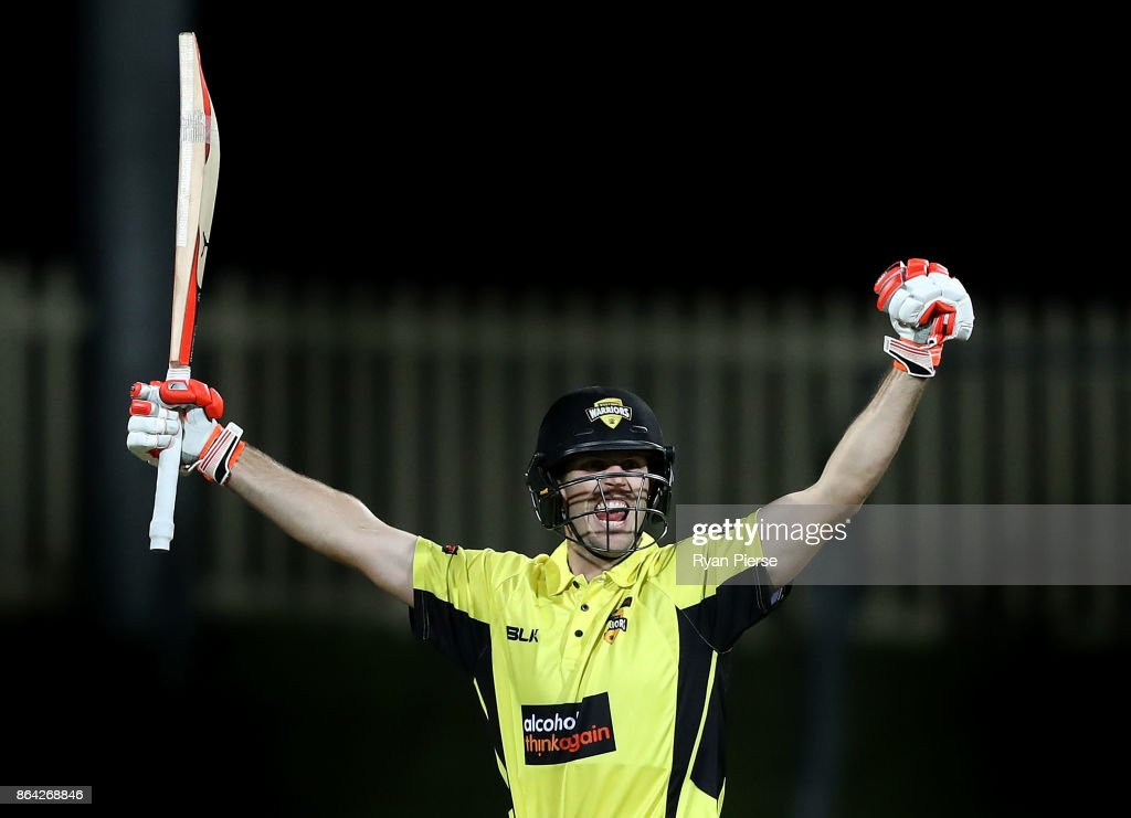Mitchell Marsh of the Warriors celebrates after hitting the winning runs during the JLT One Day Cup Final match between Western Australia and South Australia at Blundstone Arena on October 21, 2017 in Hobart, Australia.