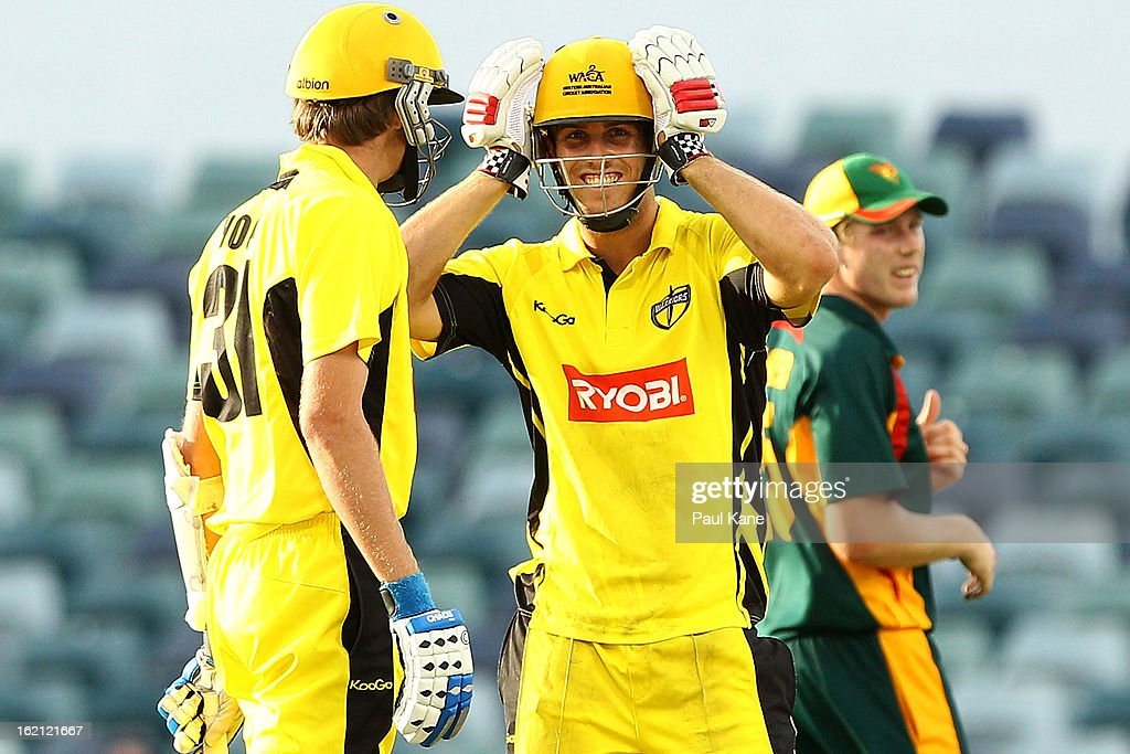 Mitchell Marsh of the Warriors looks on during the Ryobi One Day Cup match between the Western Australia Warriors and the Tasmanian Tigers at the WACA on February 19, 2013 in Perth, Australia.
