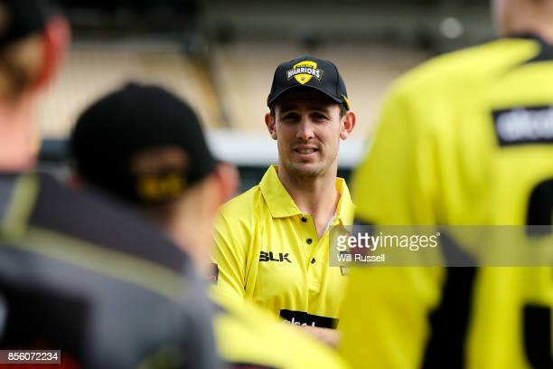 Mitchell Marsh of the Warriors talks to the team before the JLT One Day Cup match between Victoria and Western Australia at WACA on October 1 2017 in...