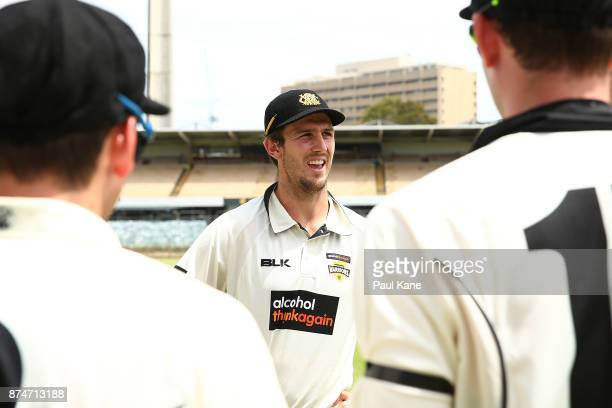 Mitchell Marsh of Western Australia addresses his team before taking to the field during day four of the Sheffield Shield match between Western...