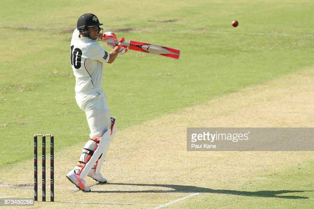 Mitchell Marsh of Western Australia bats during day one of the Sheffield Shield match between Western Australia and South Australia at WACA on...