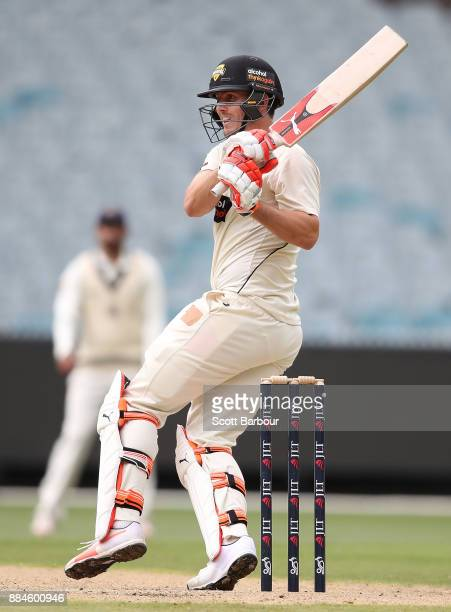 Mitchell Marsh of Western Australia bats during day one of the Sheffield Shield match between Victoria and Western Australia at the Melbourne Cricket...
