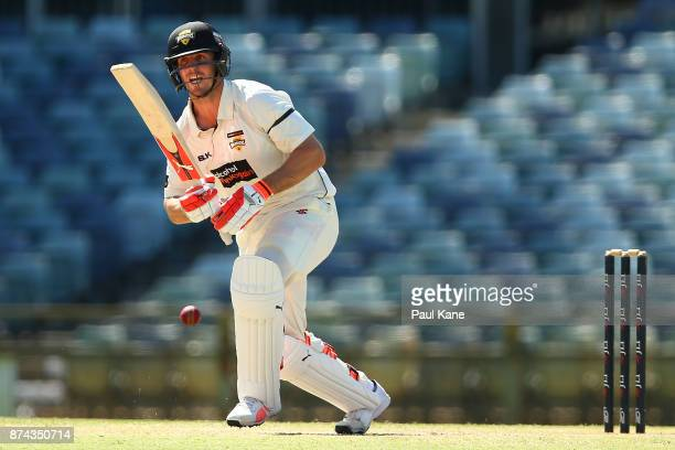 Mitchell Marsh of Western Australia bats during day three of the Sheffield Shield match between Western Australia and South Australia at WACA on...