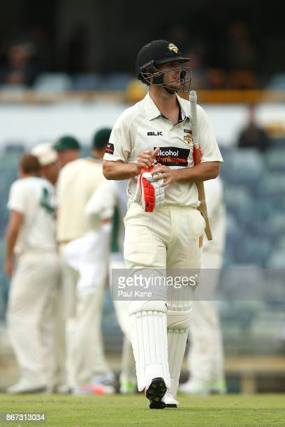Mitchell Marsh of Western Australia wals from the field after being dismissed by Sam Rainbird of the Tigers during day three of the Sheffield Shield...