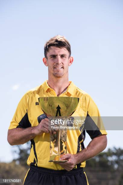 Mitchell Marsh poses during the Marsh One Day Cup Final Media Opportunity at Blacktown International Sportspark on April 10, 2021 in Sydney,...