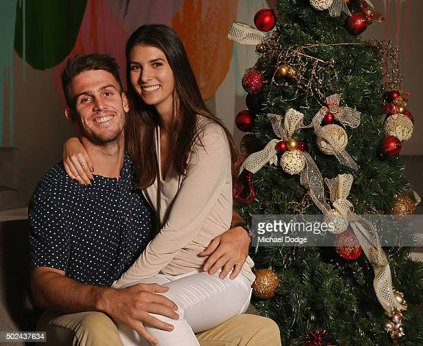 Mitchell Marsh poses with partner Isabelle Platt during the Australian Test Squad Christmas Day Luncheon at Crown Entertainment Complex on December...