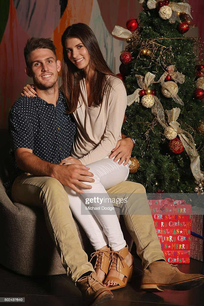 Mitchell Marsh poses with partner Isabelle Platt during the Australian Test Squad Christmas Day Luncheon at Crown Entertainment Complex on December 25, 2015 in Melbourne, Australia.