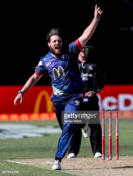 Mitchell McClenaghan of Auckland appeals for a wicket during the McDonalds Super Smash T20 match between the Auckland Aces and Otago Volts at Eden...
