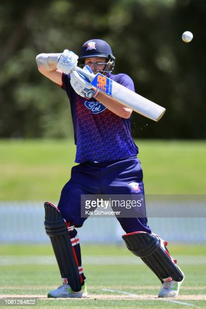 Mitchell McClenaghan of Auckland bats during the Ford Trophy match between Auckland Aces and Otago Volts on November 14 2018 in Lincoln New Zealand