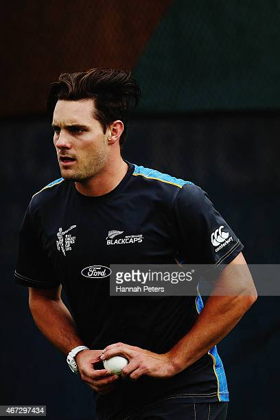 Mitchell McClenaghan of New Zealand bowls during a New Zealand nets session at Eden Park on March 23 2015 in Auckland New Zealand