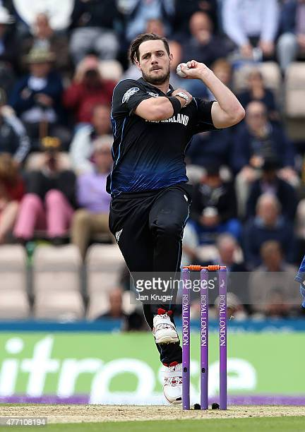 Mitchell McClenaghan of New Zealand bowls during the 3rd ODI Royal London OneDay Series 2015 between England and New Zealand at Ageas Bowl on June 14...
