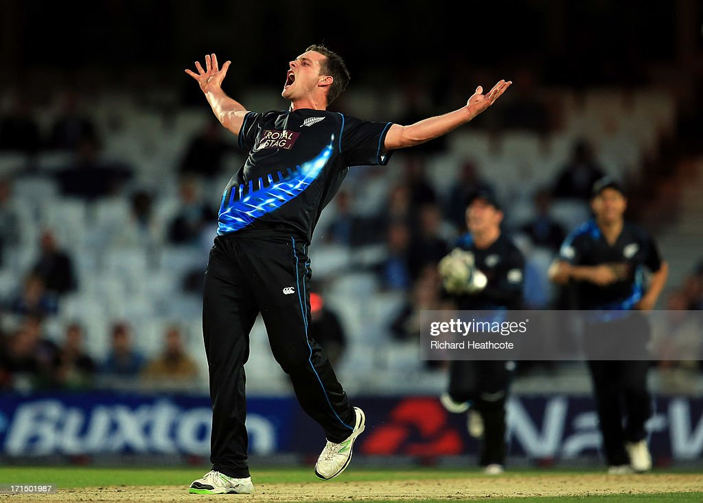Mitchell McClenaghan of New Zealand celebrates taking the wicket of Luke Wright during the 1st Natwest International T20 match between England and New Zealand at The Kia Oval on June 25, 2013 in London, England.