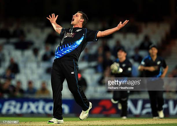 Mitchell McClenaghan of New Zealand celebrates taking the wicket of Luke Wright during the 1st Natwest International T20 match between England and...