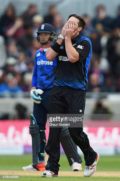 Mitchell McClenaghan of New Zealand looks frustrated during the 1st ODI Royal London OneDay Series 2015 match between England and NewZealand at...
