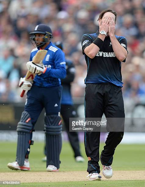 Mitchell McClenaghan of New Zealand reacts after bowling during the 1st ODI Royal London OneDay match between England and New Zealand at Edgbaston on...
