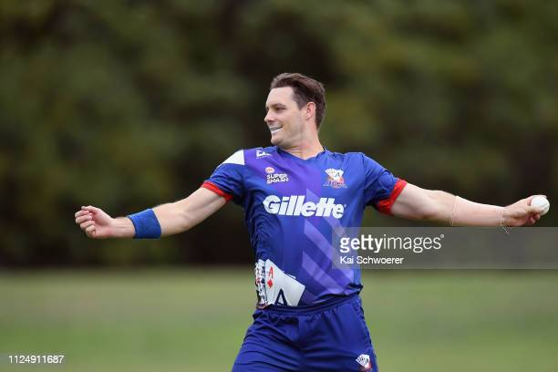 Mitchell McClenaghan of the Aces warms up during the Super Smash Twenty20 match between Canterbury Kings and the Auckland Aces at Hagley Oval on...