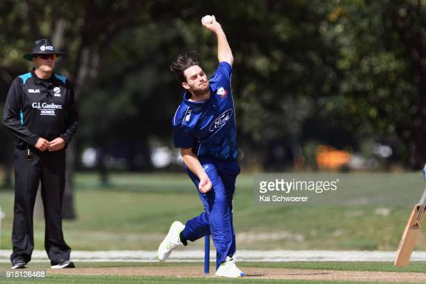 Mitchell McClenaghan of the Auckland Aces bowls during the One Day Ford Trophy Cup match between Canterbury and Auckland on February 7 2018 in...