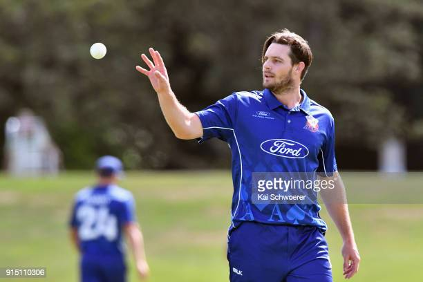 Mitchell McClenaghan of the Auckland Aces looks on during the One Day Ford Trophy Cup match between Canterbury and Auckland on February 7 2018 in...