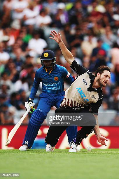 Mitchell McClenaghan of the Black Caps fields off his own bowling during the Twenty20 International match between New Zealand and Sri Lanka at Eden...