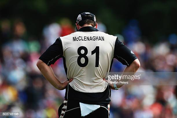 Mitchell McClenaghan of the Black Caps looks on during the Twenty20 match between New Zealand and Sri Lanka at Bay Oval on January 7 2016 in Mount...