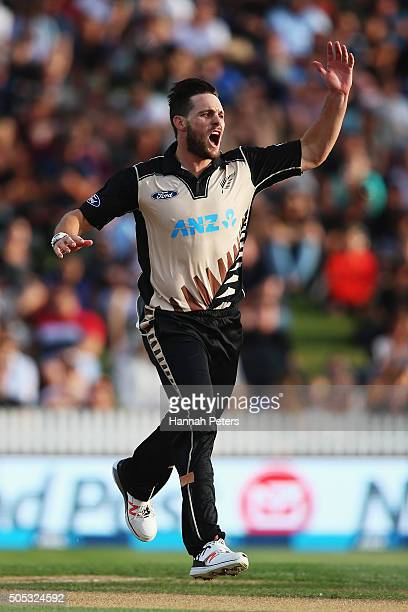 Mitchell McClenaghan of the Black Caps reacts after a dropped catch during the International Twenty20 match between New Zealand and Pakistan at...