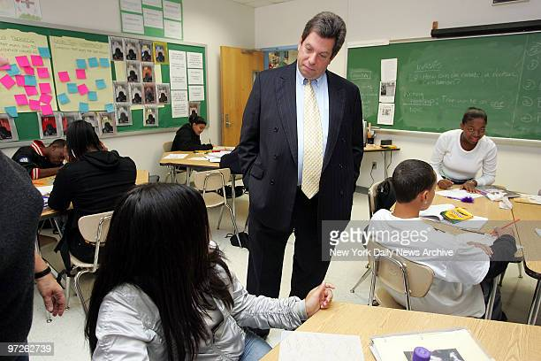Mitchell Modell CEO of Modell's Sporting Goods talks with schoolchildren at Fannie Lou Hamer High School in the Bronx He was one of 650 execs...