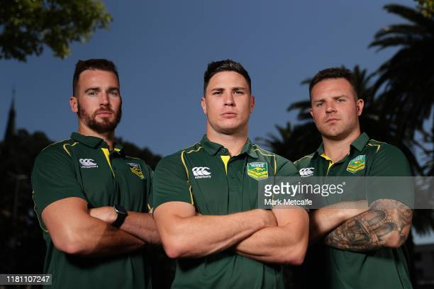 Mitchell Moses, Clint Gutherson and Nathan Brown pose during the Australian Rugby League Nines media opportunity at Novotel Parramatta on October 15,...