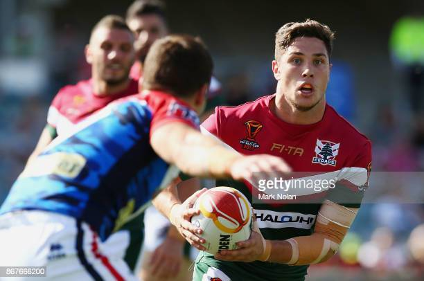 Mitchell Moses of Lebanon runs the ball during the 2017 Rugby League World Cup match between France and Lebanon at Canberra Stadium on October 29...