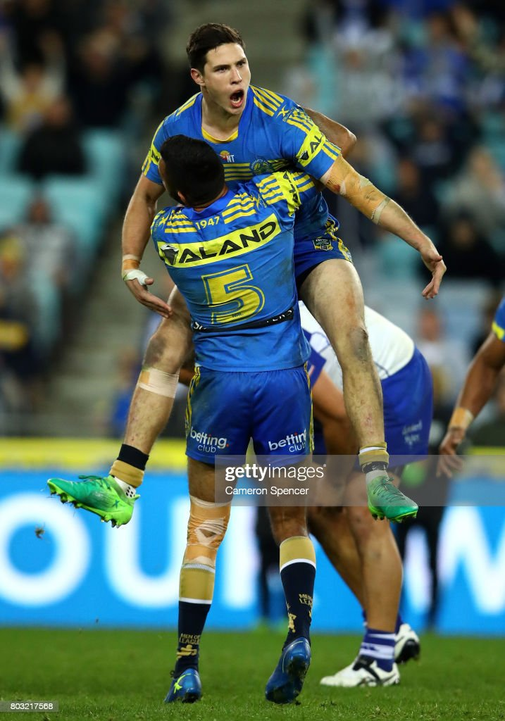 Mitchell Moses of the Eels celebrates kicking the winning field goal in extra-time during the round 17 NRL match between the Parramatta Eels and the Canterbury Bulldogs at ANZ Stadium on June 29, 2017 in Sydney, Australia.