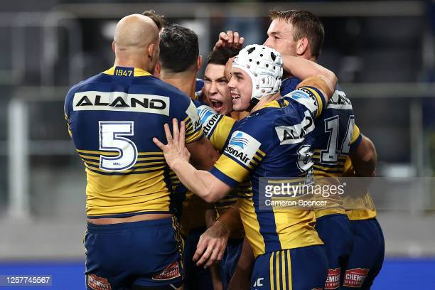 Mitchell Moses of the Eels celebrates scoring a try during the round 11 NRL match between the Parramatta Eels and the Wests Tigers at Bankwest...