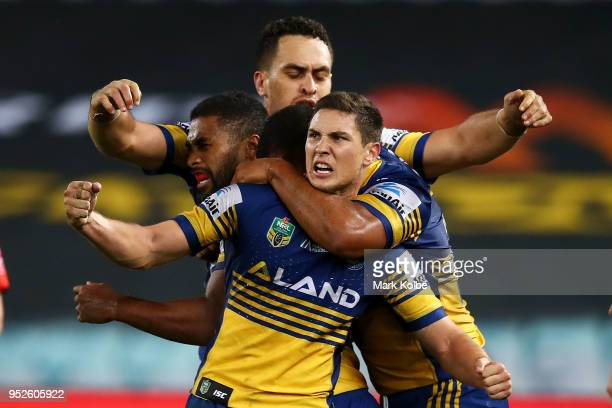 Mitchell Moses of the Eels celebrates victory with his team mates during the round Eight NRL match between the Parramatta Eels and the Wests Tigers...