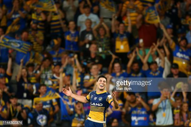 Mitchell Moses of the Eels celebrates winning the round 6 NRL match between the Parramatta Eels and Wests Tigers at Bankwest Stadium on April 22 2019...