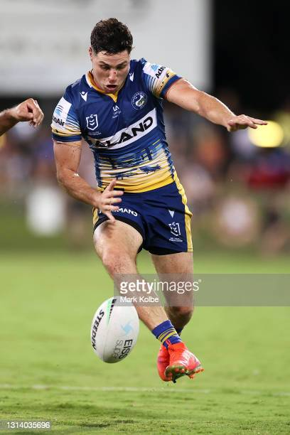 Mitchell Moses of the Eels kicks ahead during the round seven NRL match between the Parramatta Eels and the Brisbane Broncos at TIO Stadium, on April...