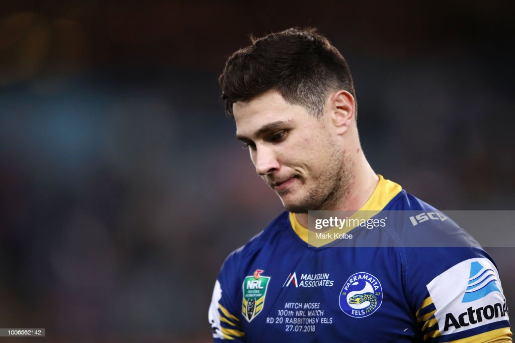 Mitchell Moses of the Eels looks dejected after defeat during the round 20 NRL match between the South Sydney Rabbitohs and the Parramatta Eels at ANZ Stadium on July 28, 2018 in Sydney, Australia.