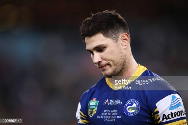 Mitchell Moses of the Eels looks dejected after defeat during the round 20 NRL match between the South Sydney Rabbitohs and the Parramatta Eels at...